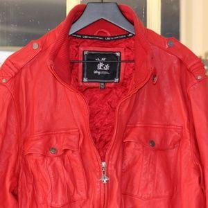 Vintage 90s L-R-G red leather bomber jacket